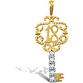 Jewelco London 9ct Solid Gold CZ set 18 key Pendant,a perfect gift for that special milestone birthday!