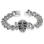 Urban Male Urban Male Skull Head Curb Link Stainless Steel Bracelet