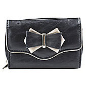 Elementz Ladies Metallic Bow Black and Pewter Purse