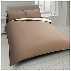 Tesco Basics Reversible Single Duvet Set - Natural and Sand