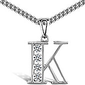 Sterling Silver Cubic Zirconia Identity Pendant - Initial K - 18inch Chain