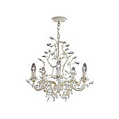 5 Arm Cream and Gold Chandelier with Crystal and Leaf Decoration