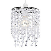Two Tier Ceiling Pendant Light Shade in Chrome & Clear