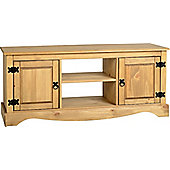 Corona Mexican 2 Door 1 Shelf Flat Screen TV Unit Distressed Waxed Pine