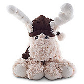 Reece the 23m Cream Plush Fabric Sitting Christmas Reindeer Decoration