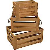 Nicola Spring Vintage Wooden Wine / Fruit Storage Crates Set Of 3
