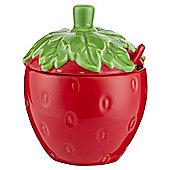 Tesco Strawberry Jam Jar and Spoon, Red
