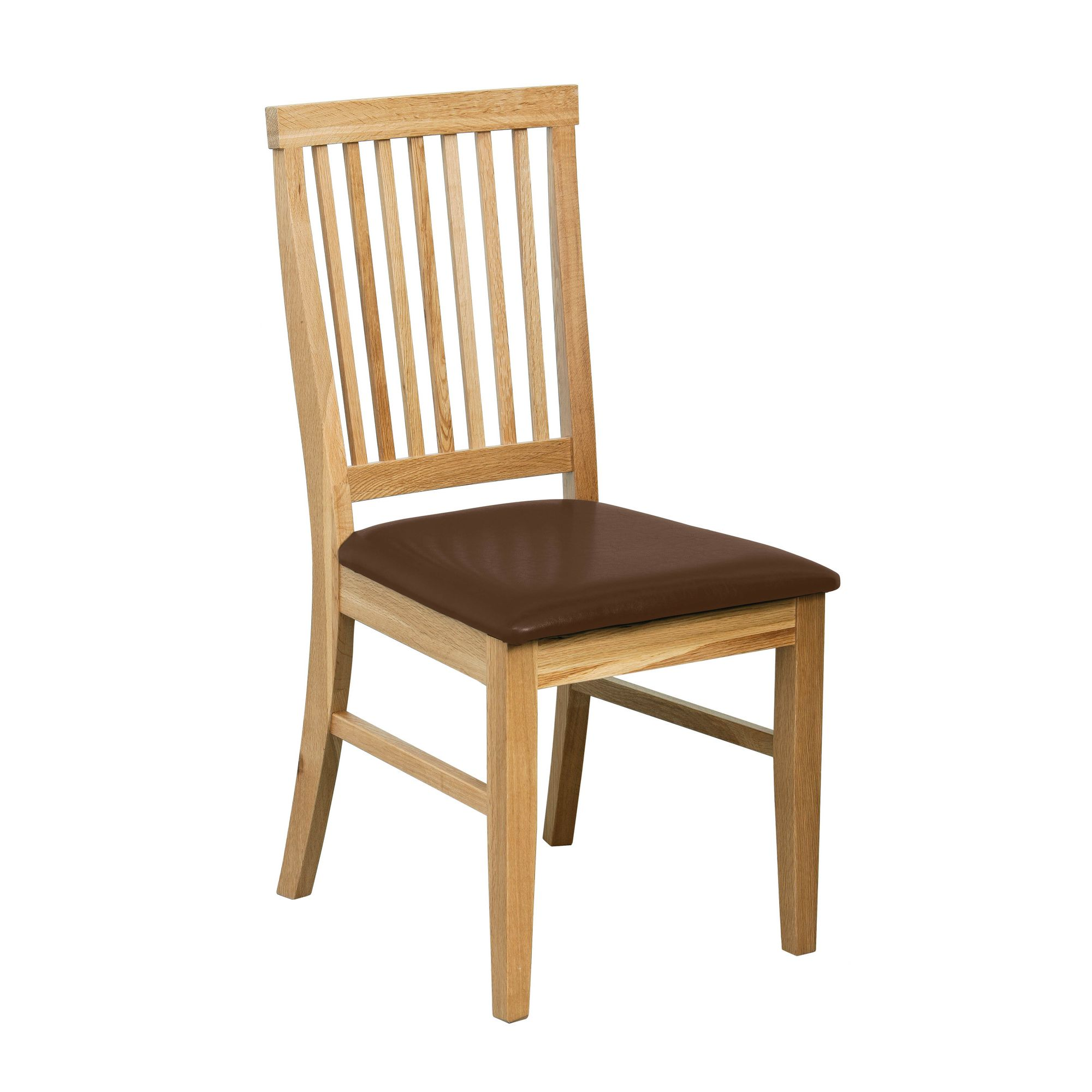 Premier Housewares Solid Oak Dining Chair with Brown PU Leather seatpad (Set of 2)