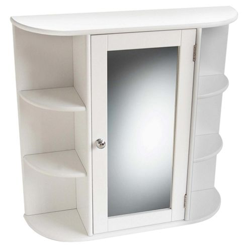 Mirrored White Wall Cabinet with side shelves