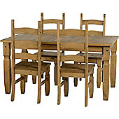 Corona Mexican 5' Dining Set Distressed Waxed Pine