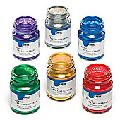 Metallic Acrylic Paints to Paint Decorate and Embellish Ceramic & Porcelain Arts & Crafts (Set of 6 x 50 ml)