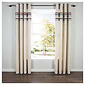 Linen Lined Eyelet Curtains - Red