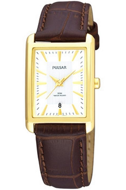 Pulsar Ladies Gold Plated Oblong Leather Strap Watch PH7136X1