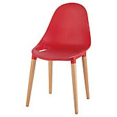 Palermo Stacking Chair, Red & Wood