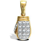 Jewelco London 9ct Solid Gold casted premium weight Boxing Glove Pendant hand-set with CZ stones