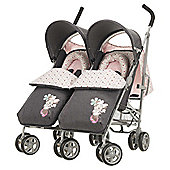 Obaby Apollo V2 Twin Stroller, Retro Minnie Denim