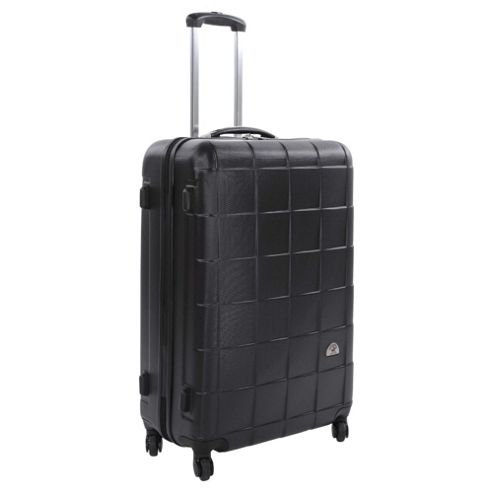 Beverly Hills Polo Club 4-Wheel Hard Shell Suitcase, Black Square Print Large