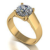18ct Gold Lucern Setting 8.0mm Moissanite Single Stone Ring.