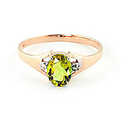 QP Jewellers Diamond & Peridot Oval Desire Ring in 14K Rose Gold