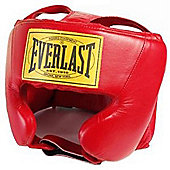 Everlast Leather Head Guard Red - Red