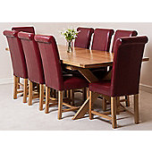 Vermont Solid Oak Extending 200 - 240 cm Dining Table with 8 Burgundy Washington Leather Chairs