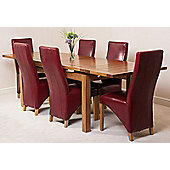 Farmhouse Rustic Solid Oak 200 cm Butterfly Extending Dining Table with 6 Lola Leather Chairs (Burgundy)