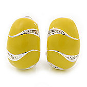 C-Shape Lemon Yellow Enamel Diamante Clip-On Earrings In Rhodium Plating - 18mm Length