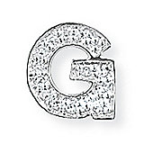 Jewelco London 9ct White Gold - Diamond - G' Initial Charm Pendant -