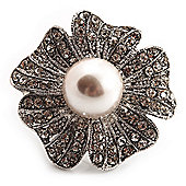 Oversized Diamante Simulated Pearl Daisy Cocktail Ring (Silver Tone Metal) - 4cm Diameter