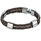 Mens Fred Bennett Double Braided Leather and Stainless Steel Bracelet
