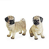 Milo & Portia the Pug Dog Pet Figurine Garden or Home Ornament Set