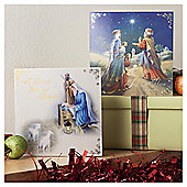 Tesco Gold Foil Religious Scenes Christmas Cards, 10 Pack