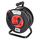 Silverline European Type F Schuko Cable Reel 230V 16A 25m 4 CEE 7/4 Sockets
