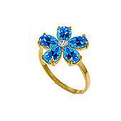 QP Jewellers Diamond & Blue Topaz Foliole Ring in 14K Gold