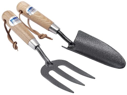 Draper 2 Piece Carbon Steel Heavy Duty Hand Fork and Teowel Set With Ash Handles