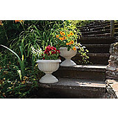 Stone Effect Pedestal Planters, 2 pack