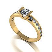 18ct Gold 5.0mm Tension Set Moissanite Single Stone Ring with Moissanite Set Shoulders