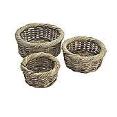 Wicker Valley Round Rattan Storage Basket in Grey 3 Piece Set