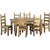 Corona Extending Dining Set (1+8) Distressed Waxed Pine
