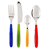 Tesco 16 Piece Croft Plastic Handle Cutlery Set, Multi coloured