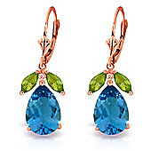 QP Jewellers Peridot & Blue Topaz Pear Drop Earrings in 14K Rose Gold