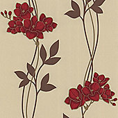 Superfresco Easy Serene Paste The Wall Floral Red Wallpaper