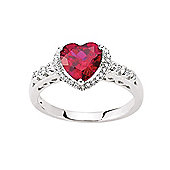 Jewelco London Rhodium-Coated Sterling Silver Heart Dress Ring Size