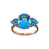 QP Jewellers 4.20ct Blue Topaz Vogue Ring in 14K Rose Gold