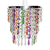 Three Tier Acrylic Crystal Ceiling Light Shade in Multi Coloured