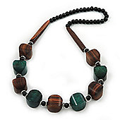 Chunky Brown/Dark Green Wooden Bead Necklace - 76cm Length