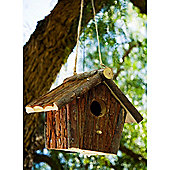 Feed - Solid Wood Natural Hanging Bird House With Perch