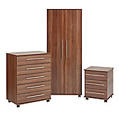 Ideal Furniture Bobby 2 Door Robe Wardrobe - Walnut
