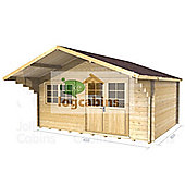 15ft x 10ft (4.5m x 3.0m) Apex + Canopy Log Cabin - Double Glazing (44mm Wall Thickness)