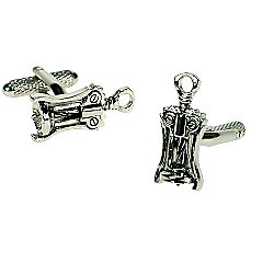 Cork Screw Bottle Opener Novelty Themed Cufflinks